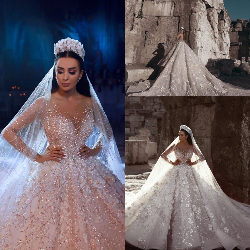 Dubai Luxury Crystal Wedding Dresses 2018 Shiny Beaded 3D Flower Wedding Gowns With Sheer Full Sleeves Pearls Vestido De Noiva