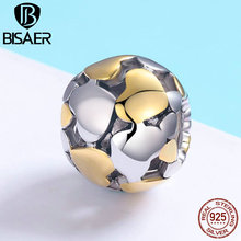BISAER Romantic 100% 925 Sterling Silver Heart and Gold Heart Charm Beads fit Charm Bracelet for Women Valentine Day Gift GXC537 bamoer valentine day gift 925 sterling silver cheers for love couple beer pendant charm fit charm bracelet diy jewelry scc478