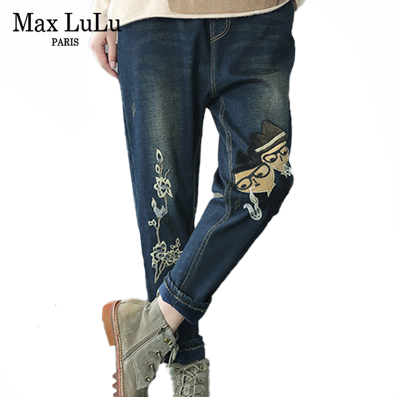 Max LuLu 2019 Korean Brand Fashion Vintage Loose Warm Streetwear Ladies Embroidery Jeans Womens Elastic Denim Trousers Plus Size