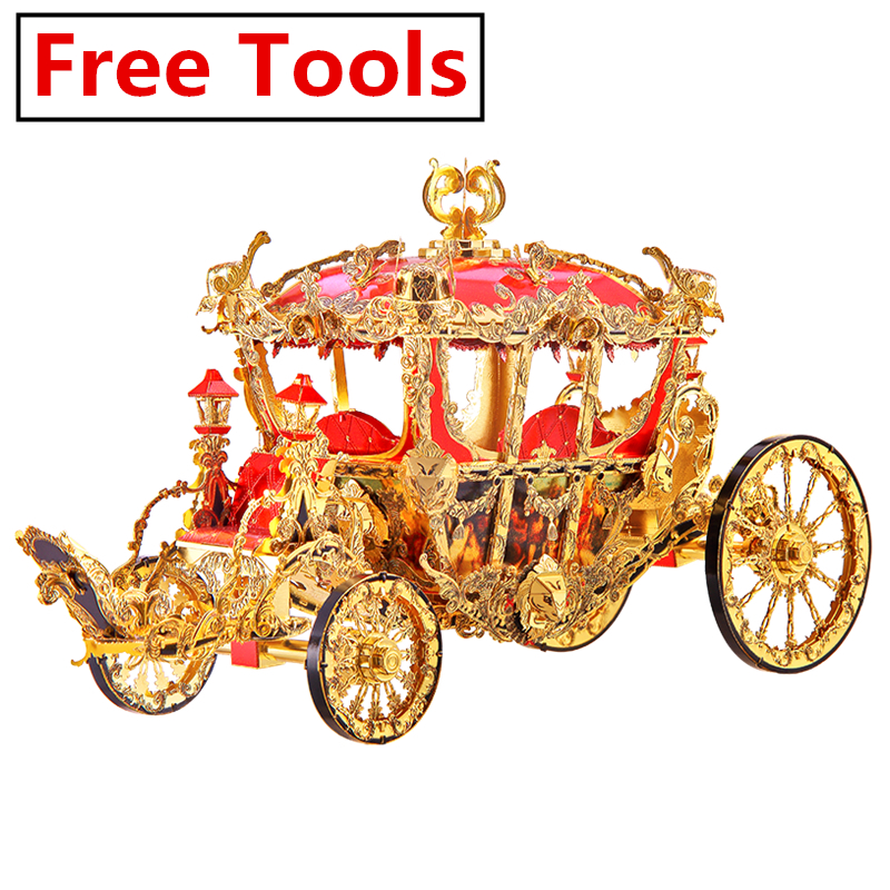 Piececool THE PRINCESS CARRIAGE 3d Puzzle Metal puzzle Assembly Model P122-GR Creative Gifts DIY Toys Collection(China)