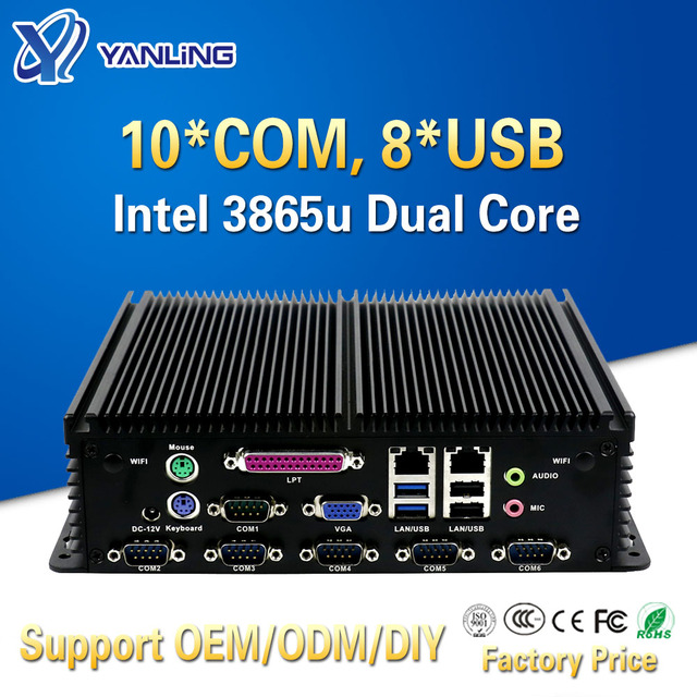 Yanling بدون مروحة كمبيوتر صغير صناعي إنتل سيليرون 3865u ثنائي Lan 10 COM 8 USB 2 * PS/2 مايكرو جزءا لا يتجزأ من دعم كمبيوتر LPT ميناء