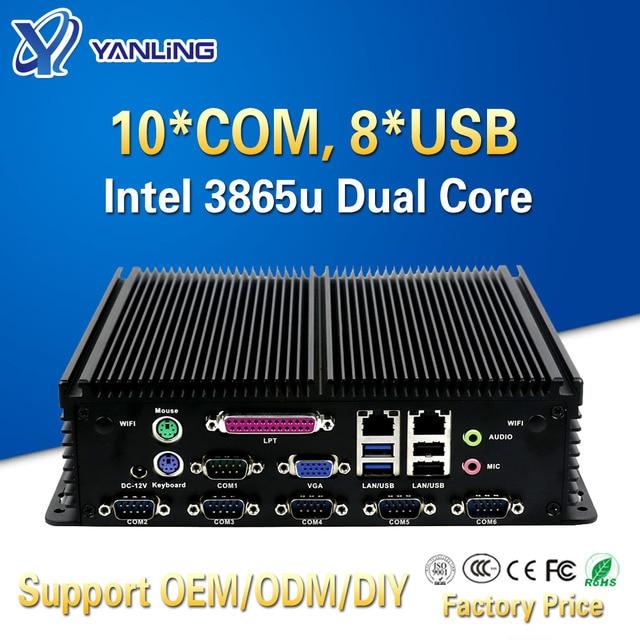 Yanling Fanless อุตสาหกรรม Mini PC Intel Celeron 3865u Dual LAN 10 COM 8 USB 2 * PS/2 Micro embedded คอมพิวเตอร์สนับสนุนพอร์ต LPT