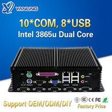 Yanling Không Quạt Công Nghiệp Máy Tính Mini PC Intel Celeron 3865u Dual Lan 10 Com 8 USB 2 * PS/2 Micro máy Tính Nhúng Hỗ Trợ Cổng LPT