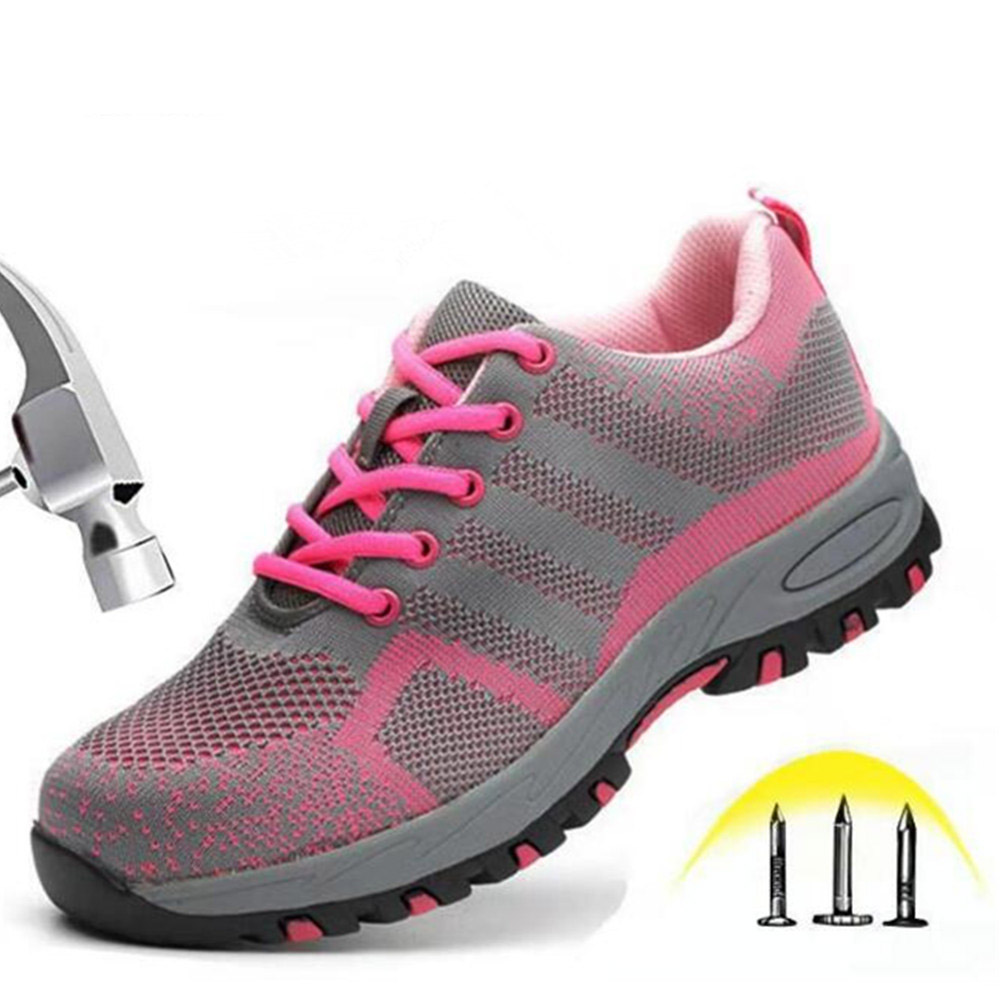 2019 Steel Toe WorkWomen Work Boots For Mesh Women Lightweight Breathable Anti-smashing Non-slip Protective Safety Shoes