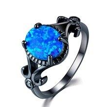 FDLK Glamour Schmuck Schwarz Blau Künstliche Opal Damen Ring, Verlobung, Hochzeit Ring Mädchen Party Mode Zubehör