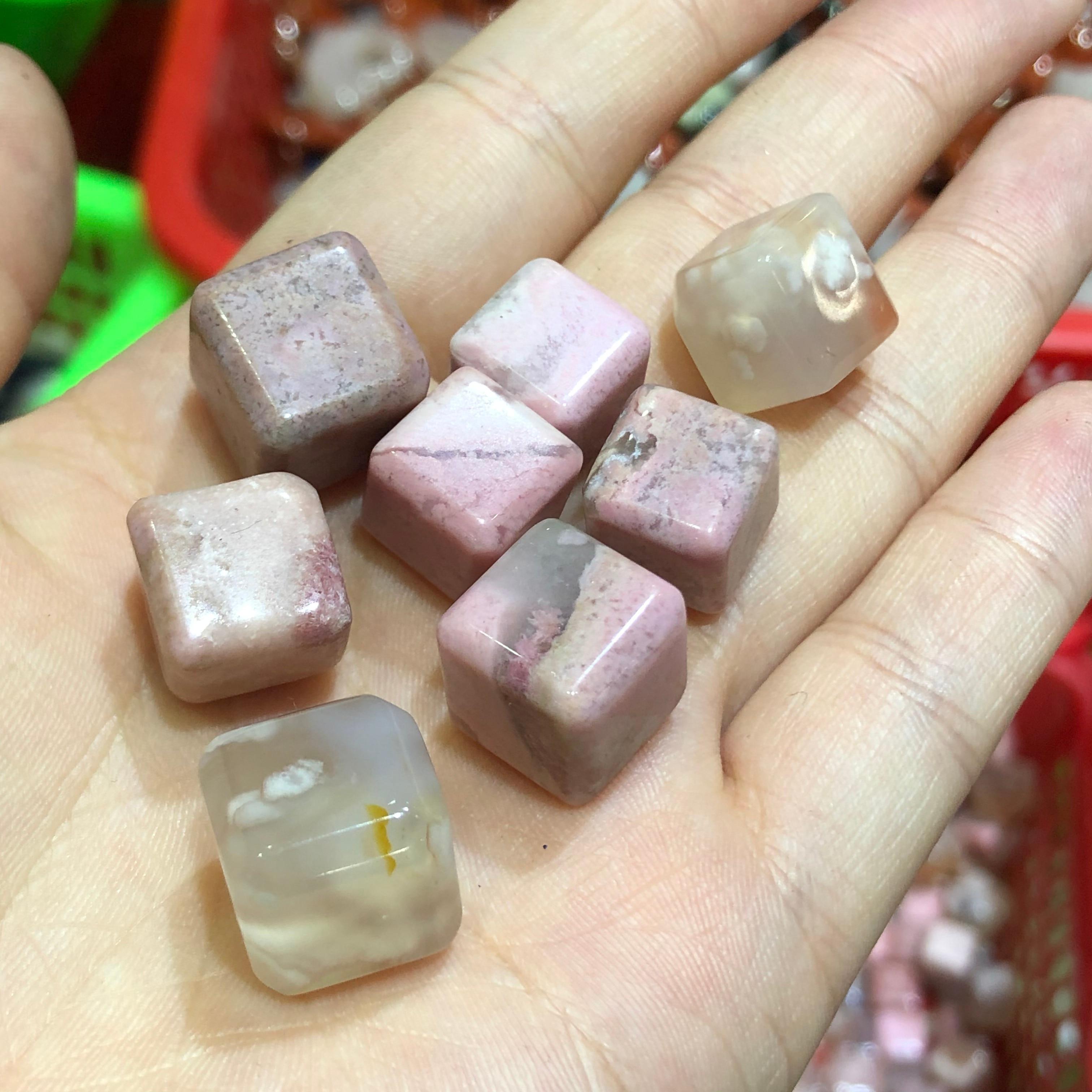 Оптовая продажа, 5 шт., натуральная Снежинка, вишневый цвет, агат, блок, таблица, кристаллический драгоценный камень, кварц для лечения криста...