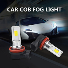 newest auto COB fog light bulbs dual car h8 h11 led drl turn signal lights with white and yellow color 6500k 30w 12v