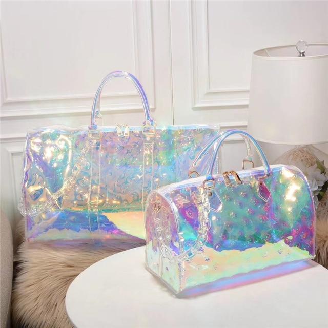 Classic Print Rainbow Laser Gril Sport Bag Shine Women Travel Handbag PVC Holographic Luggage Transparent Lady Tote Suitcases