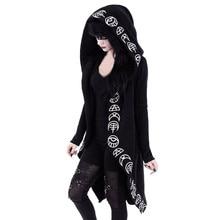 Hot print cardigan Black Long Sleeve Punk Moon Print Hooded Black Cardigan Jacket Coat Plus Size for Women cosplay #H