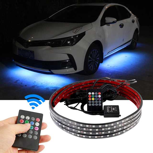 4x Car Underglow Flexible Strip LED Remote /APP Control RGB LED Strip Under Automobile Chassis Tube Underbody System Neon Light