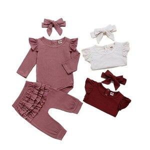 Осенний Детский комбинезон для новорожденных, костюм + штаны + повязка на голову, хлопковый комплект одежды в рубчик для маленьких девочек, 3 ...