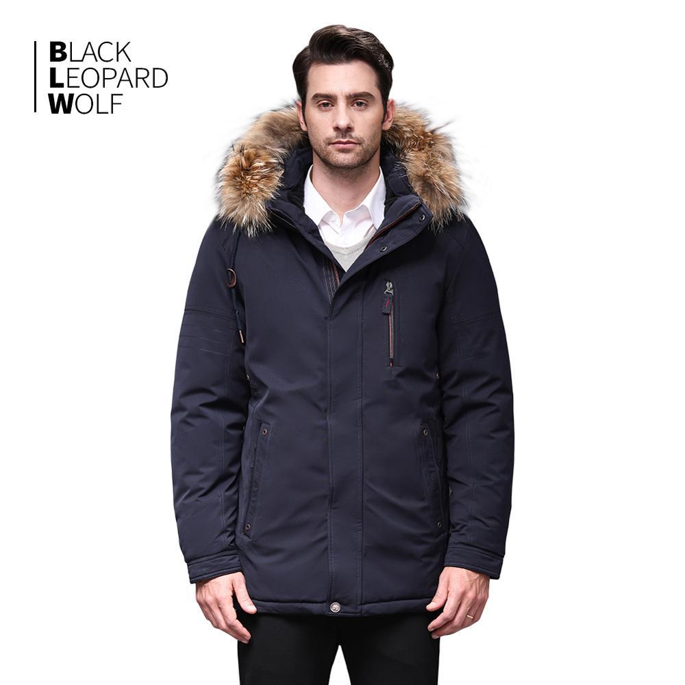 Blackleopardwolf 2019 Winter Men Down Jacket Alaska Windproof Detachable Outwear With Luxury Fur Raccoon  BL-6603M
