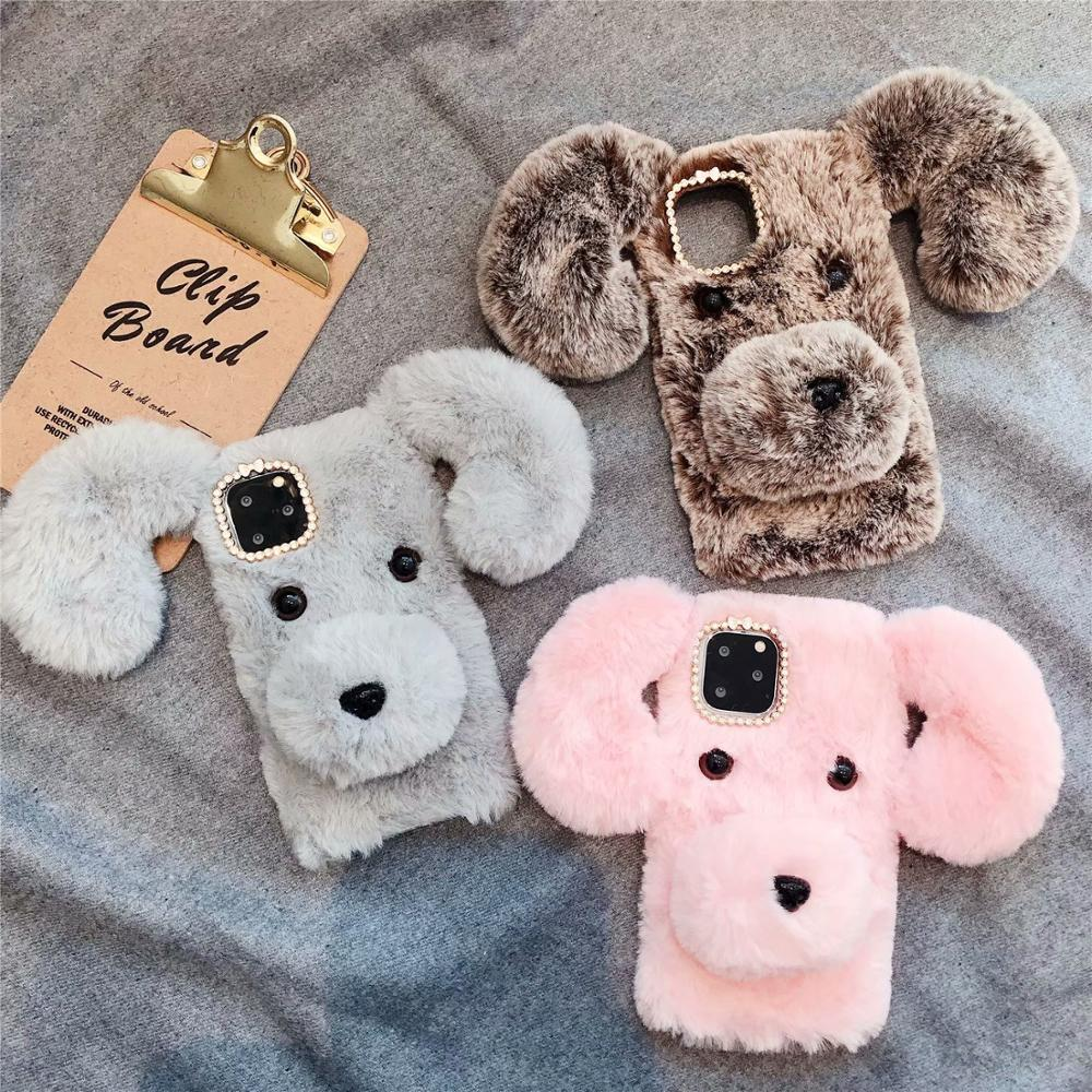 For <font><b>Samsung</b></font> Galaxy S6EDGE S7 S8Plus S9 S10 Note5 <font><b>Note8</b></font> Note9 S10E Diamond Plush Dog Back Cover Warm fur hair <font><b>Case</b></font> image