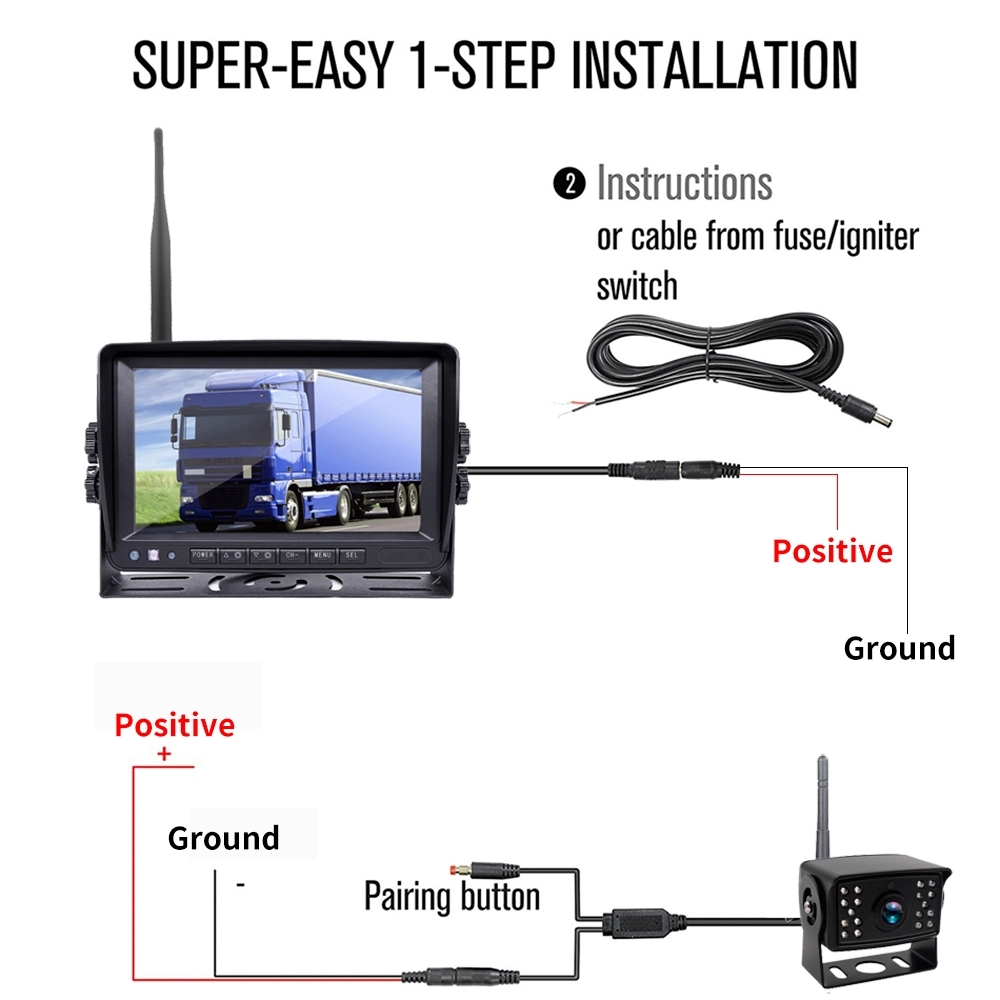 Wireless Rv Truck Trailer Bus Forklift 4 Channel Video Record 7 Inch Monitor Infrared Reverse Backup Quad View Camera System 29