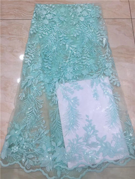 African Lace Fabric 3d 2019 Lace Water Green Cord African Sequins Lace Fabric Embrodiery French Lace Fabric For Wedding X9