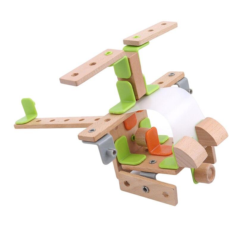 Montagem criativa helicóptero montagem porcas de madeira