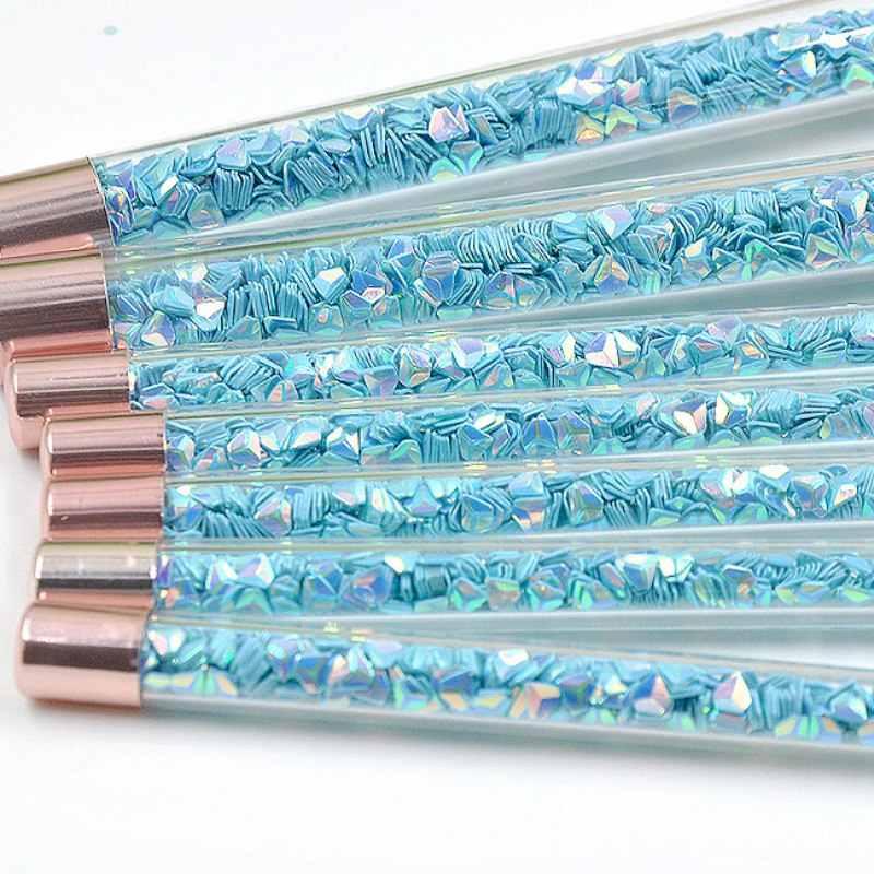 Shinny Prodotti di Base in Polvere Ombretto Pennello Cosmetico Make Up Tool Kit 7 Pcs Maniglia Diamante di Scintillio di Trucco Brush Set