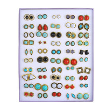 50 Pairs/Set Random Vintage Stone Marble Stud Earrings For Women Fashion Jewelry Gold Metal Alloy Geometric Earring Set Mix Gift