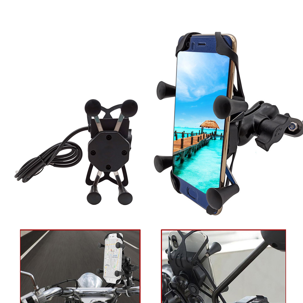 For Yamaha V Max VMAX 1700 1200 125 WR250F Wr 250f 250 F Motorcycle Mobile Phone Stand Holder With USB Charger 360 Rotatable