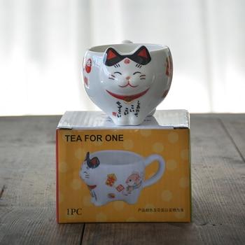 TANGPIN น่ารัก Lucky Cat Porcelain ชุดชาสร้างสรรค์ maneki Neko เซรามิคถ้วยชาหม้อกรอง LOVELY plutus แมวกาน้ำชา