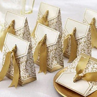 100PCS Gold Silver Paper Boxs with Gold Ribbon Wedding Favours Birthday Party Gift Candy Bags Packaging Supplies