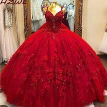 Красное Бальное Платье Пышное с цветочной аппликацией украшенное