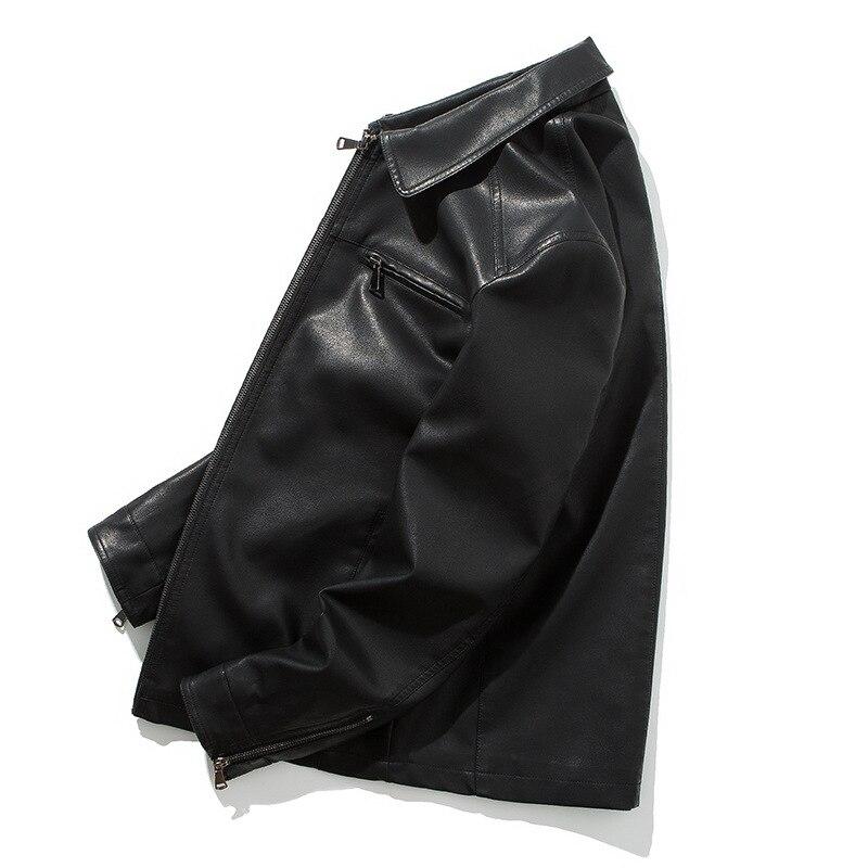 casaco de couro masculino com zíper, para