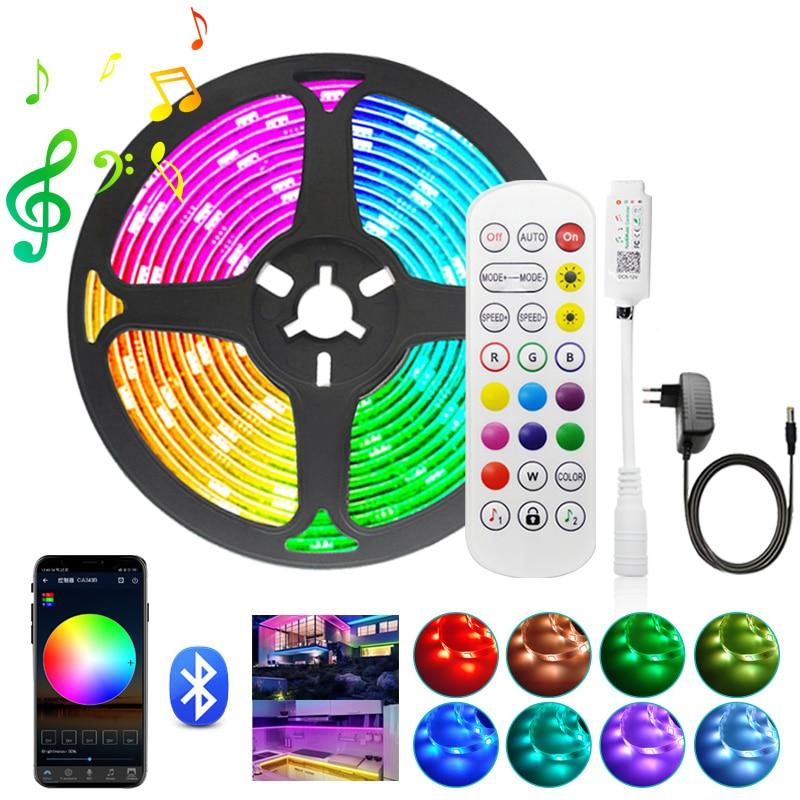 Светодиодная лента с Bluetooth, 5/10/15 м, RGB 5050 SMD 2835, гибкая светодиодная лента, 12 В постоянного тока + пульт дистанционного управления + адаптер пита...