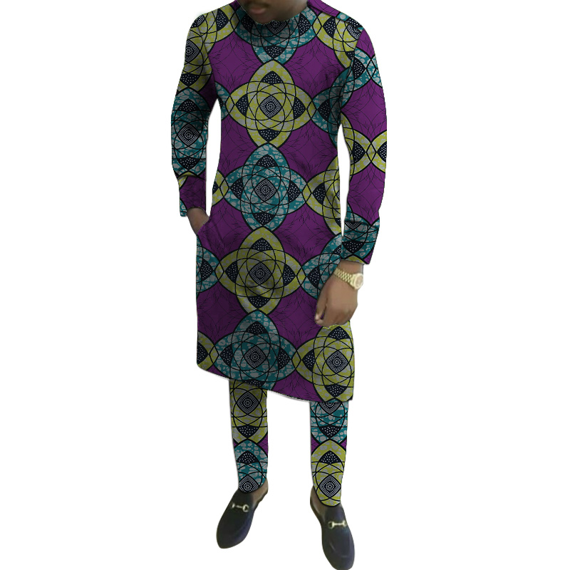 Dashiki Special Occasion Long Shirts With Trousers Customized African Party Pant Sets Fashion Male Groom Set Clothes Plus Size