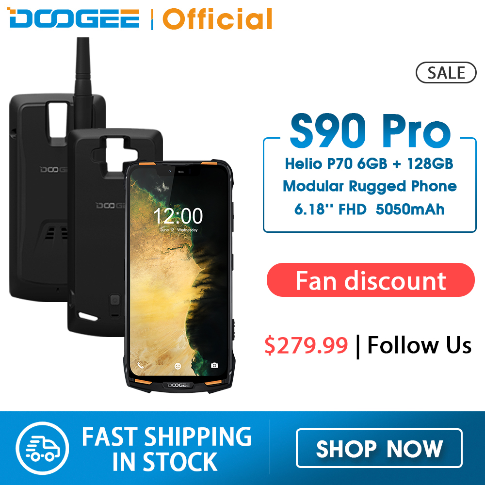 IP68 DOOGEE S90 Pro Modular Rugged Mobile Phone 6.18inch Display 12V2A 5050mAh Helio P70 Octa Core 6GB 128GB 16MP+8MP Android 9(China)