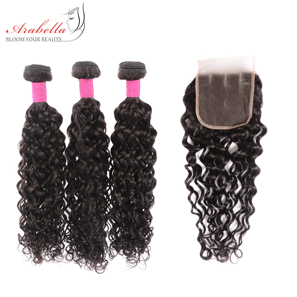 Water Wave Bundles With Closure Arabella  Bundles With Pre Plucked Lace Closure 3 Bundles With Closure