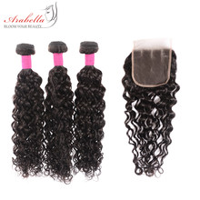 Mèches brésiliennes Remy ondulées-Arabella | Cheveux naturels, pre-plucked, avec Lace Closure, lots de 3