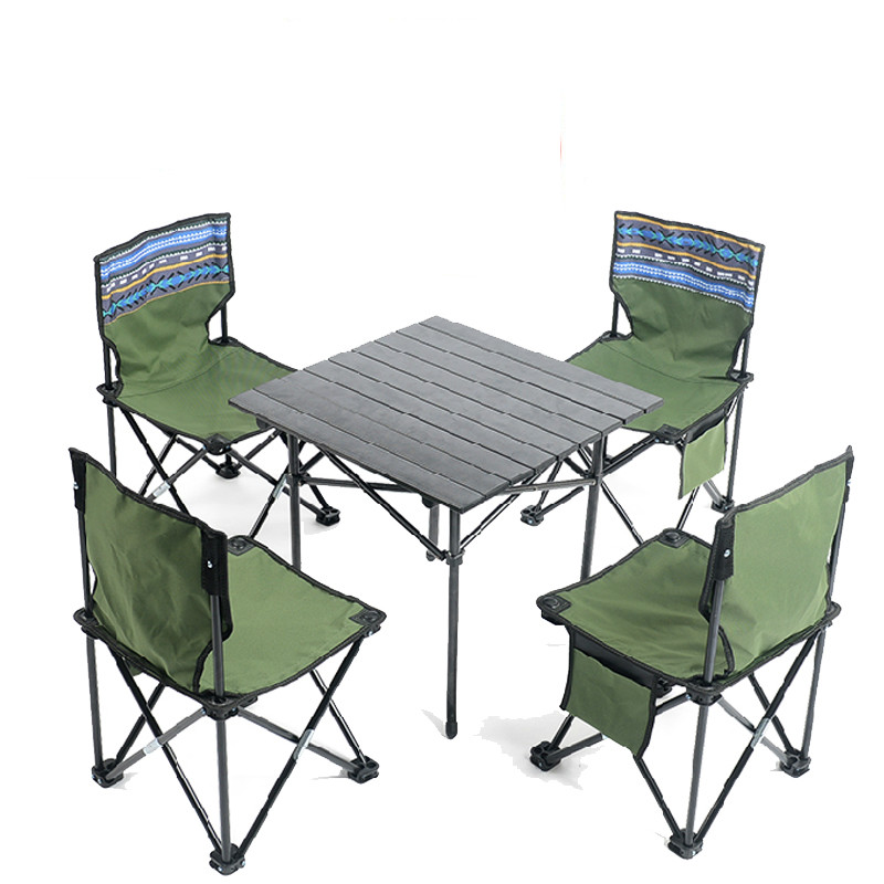 Ensemble Table et chaise d'extérieur Tables et chaises pliantes portables pique-nique Barbecue en aluminium Table de Camping et tabourets meubles de Patio