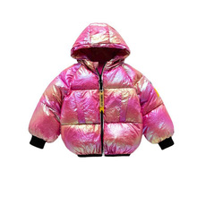 Girls Jacket Thicken Winter Warm Bright Cotton Velvet Bread Explosion-Down Colorful