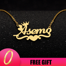 Customized Name Necklace Silver Gold Chain Stainless Steel Personalized Custom Heart Ribbon Crown Mom Jewelry Gift