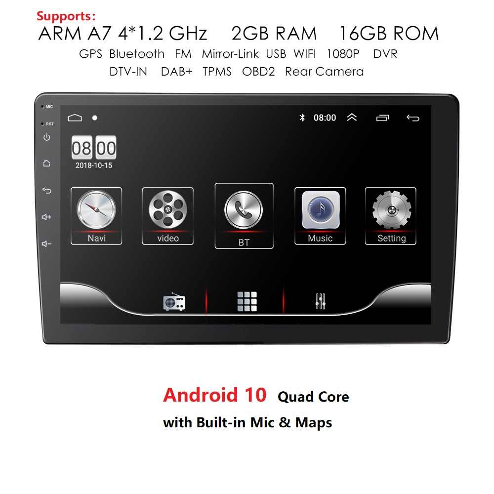 9/10 1 INCH Android 10 GPS Navigasi Autoradio Multimedia DVD Player Bluetooth WIFI MirrorLink OBD2 Universal 2Din Mobil Radio