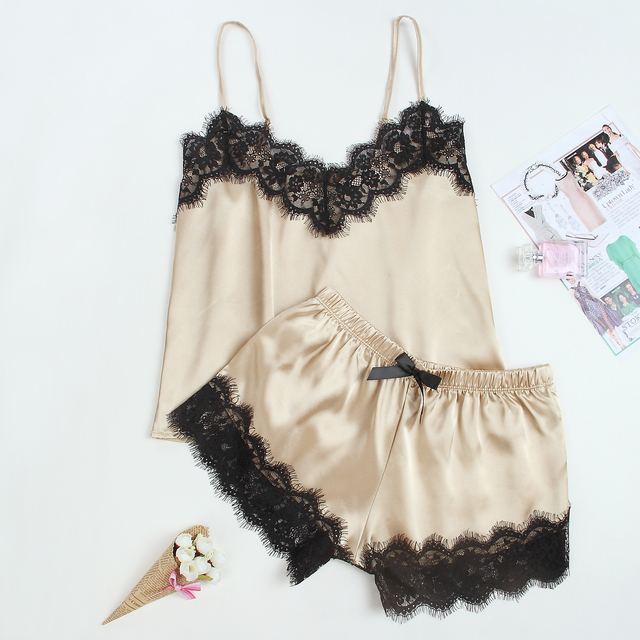 Women's Sleepwear Sexy Satin Pajama Set Black Lace V-Neck Pyjamas Sleeveless Cute Cami Top and Shorts 6