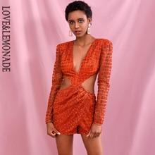Playsuit LEMONADE Orange V-Neck Open-Back Cross-Glitter Long-Sleeve Sexy LOVE Dark LM82379