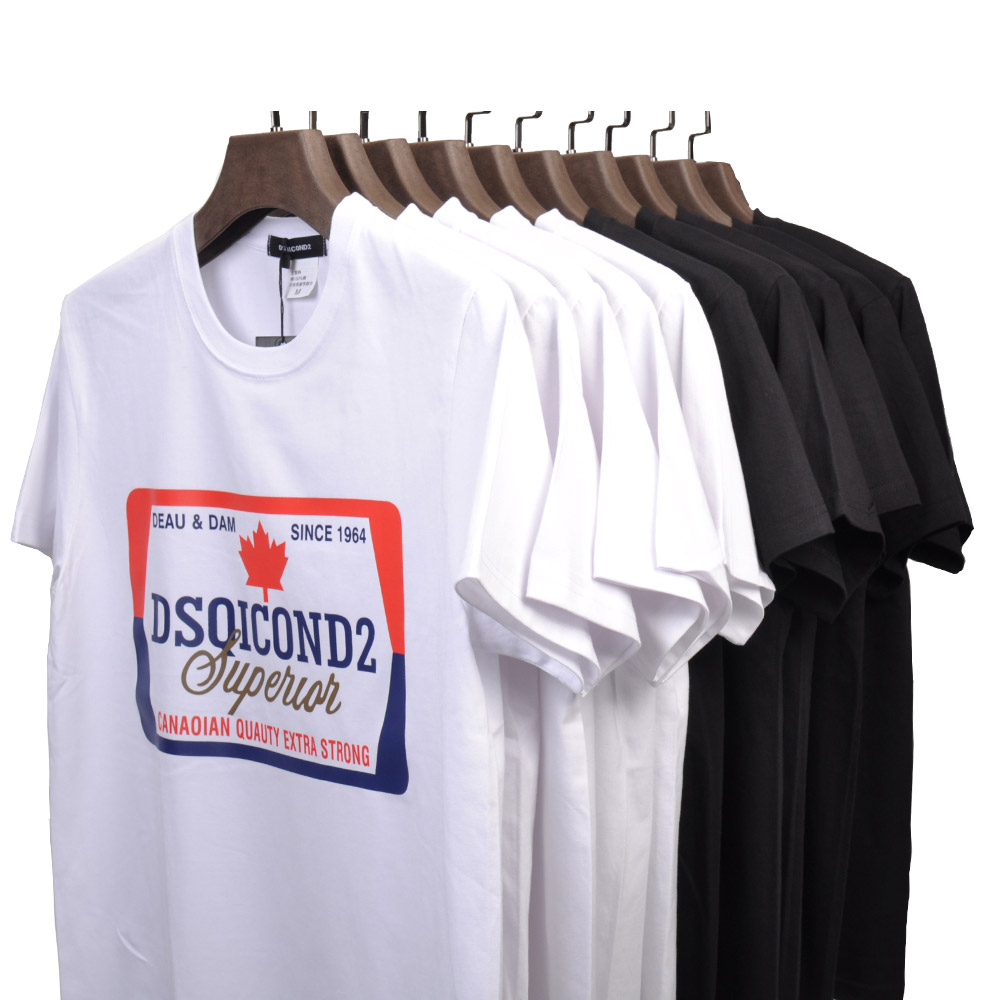 DSQICOND2 Summer Tees Men's T Shirt Short Sleeves Men Tops Print 100%Cotton Fashion Tide Casual Loose Couple Short Sleeve Tees