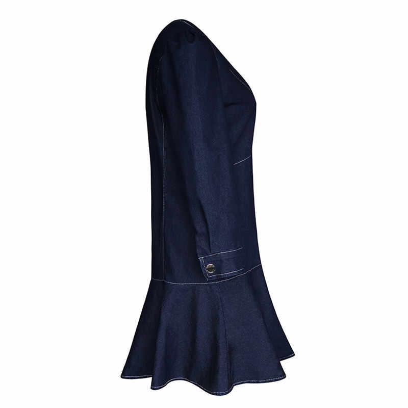 女性デニムでエレガントな長袖 V ネックボタンデニムドレス春秋のカジュアルミニドレス Vestidos 2019 新着 7