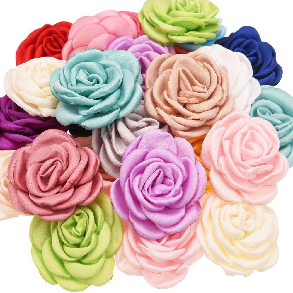 10 pçs flor de cetim 6 cm assado flores florais camillia diy flores acessórios para o cabelo queima flor sem hairbows barrette