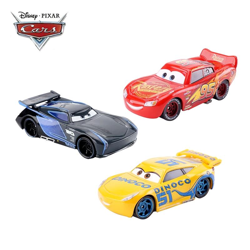 Disney Pixar arabalar 2 3 arabalar koleksiyonu yıldırım McQueen Jackson fırtına Ramirez 1:55 Diecast Metal alaşım oyuncak araba modeli çocuklar hediye