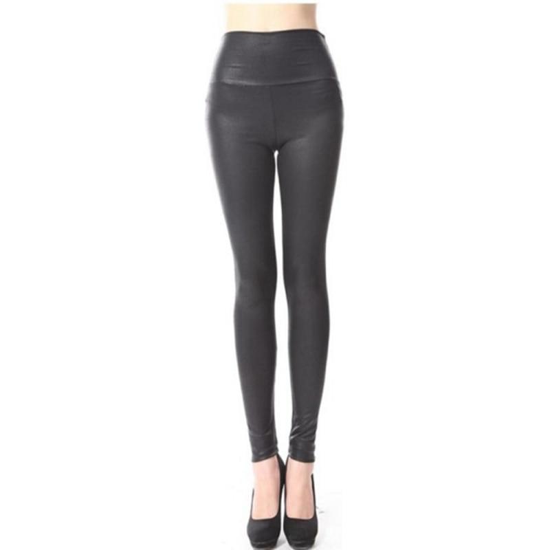 Women High Waist Leggings Faux Leather Black Matt Leggings Satin PU Snake Printed Winter Autumn Pants