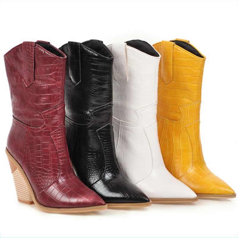 Vertvie batı kovboy çizmeleri kadın orta buzağı botları kama kış Pu deri çizmeler sivri burun Cowgirl kısa çizmeler kadın ayakkabıları