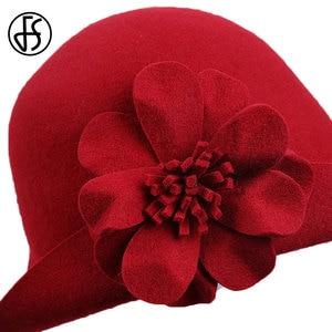 Image 5 - FS VINTAGE Red Church หมวกผู้หญิงฤดูหนาวผ้าขนสัตว์กว้าง Brim Fedoras สุภาพสตรีสีฟ้าสีดำ Fedora ดอกไม้ Bowler Felt Cloche หมวก