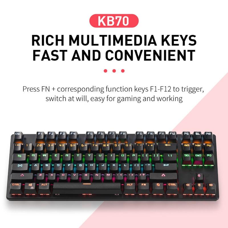 Игровая механическая клавиатура usb Проводная 87 клавиш синий
