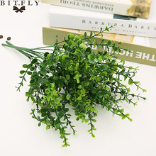 1 Bouquet Artificial Leaves Retro Green Silk Eucalyptus Leaf for Home Decor Wedding Plants Faux Fabric Foliage Room Decoration