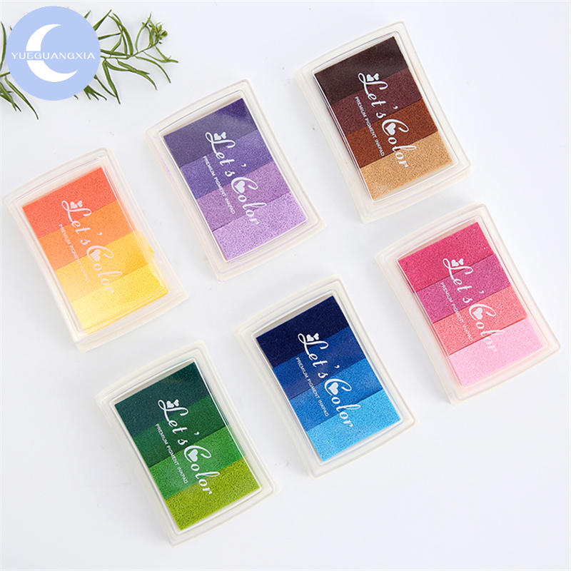 YUEGUANGXIA 6 Colors Gradual Change Colors Pink Orange Green Blue Brown Purple Short Inkpad Oil Based Inkpad Rubber Stamp Inkpad