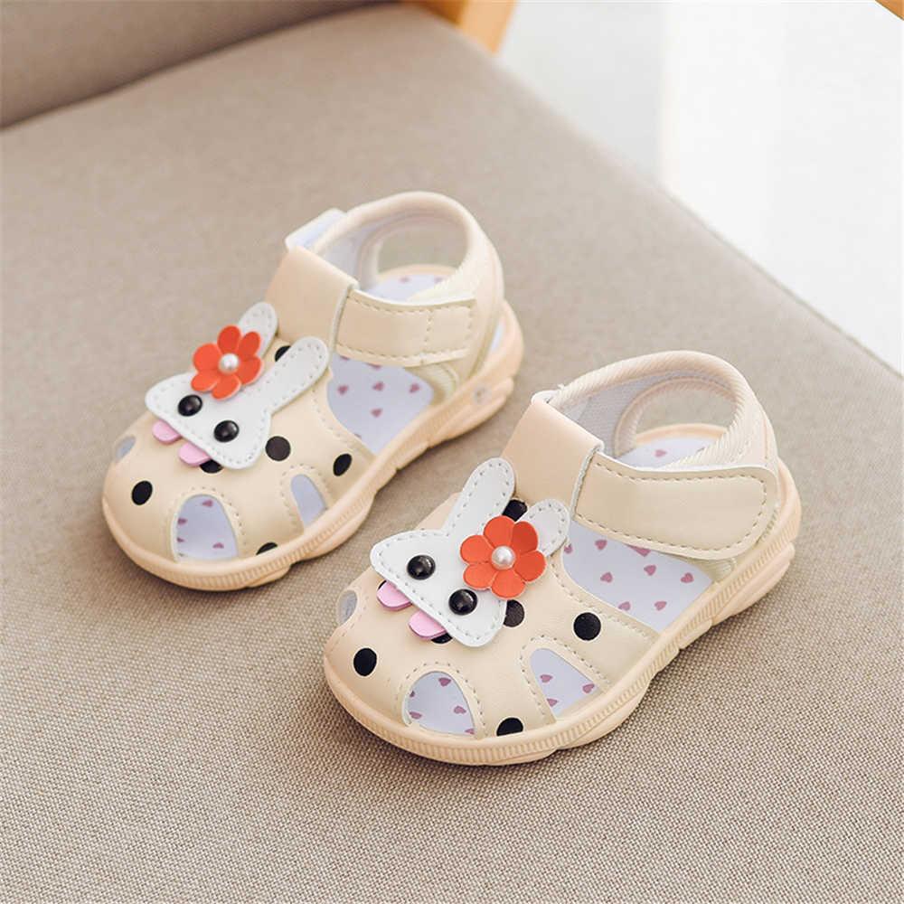 เด็กกระต่ายสัตว์การ์ตูนลื่นรองเท้าแตะเด็กวัยหัดเดินรองเท้าแบนฤดูร้อนทารกแรกเกิดPrewalker