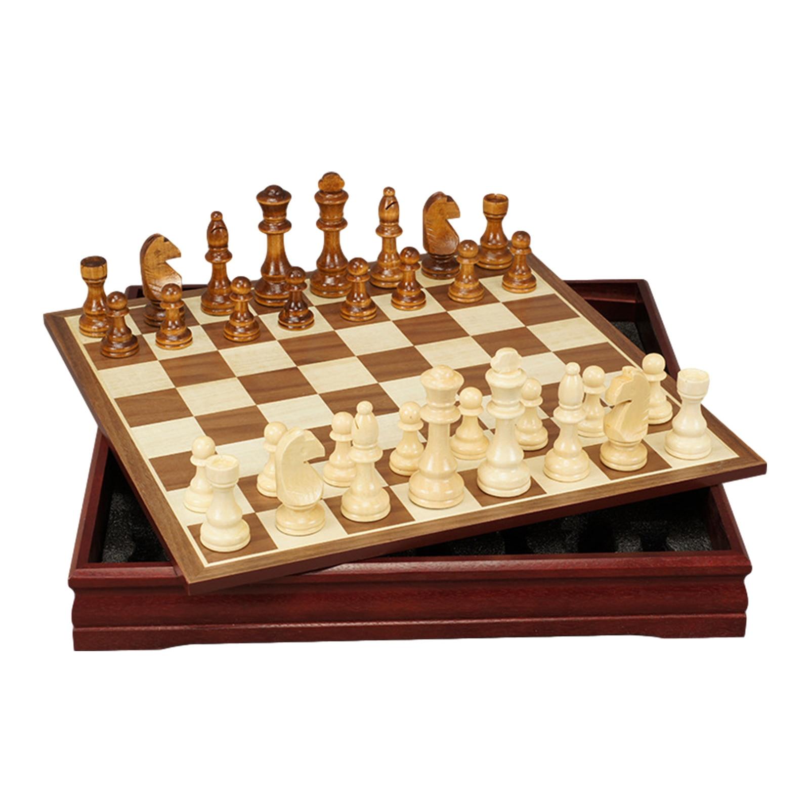 Set di scacchi in legno pezzi degli scacchi intagliati a mano tavolo da gioco 30*30*4cm deposito interno regalo per bambini adulti gioco per famiglie scacchiera 2021